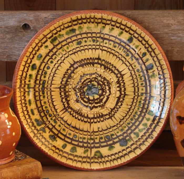 redware dinner plate marbled with green accents ... & REDWARE PLATES - Pied Potter Hamelin Redware